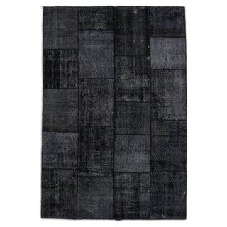 "Deep Charcoal Overdyed Turkish Carpet 6' 9""x9' 11"""