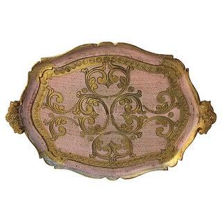 Mid-Century Florentine Pink & Gold Tray