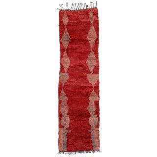 Vintage Moroccan Mid-Century Modern Berber Red Runner Rug - 2′5″ × 8′2″