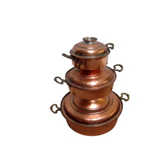 Hammered Copper Brass Pots - Set of 3