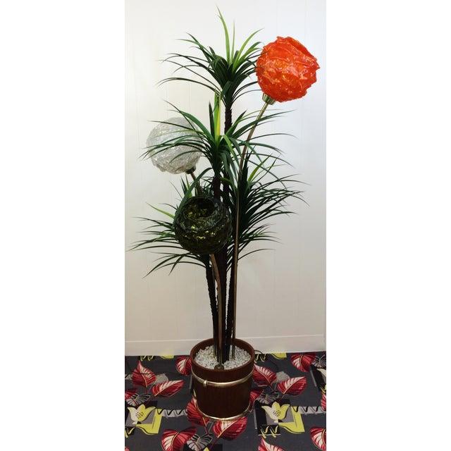 Mid Century Spaghetti Spun Lucite Palm Tree Lamp - Image 3 of 8