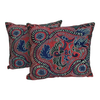 Colorful Silk Embroidered Dragon Pillows - Pair