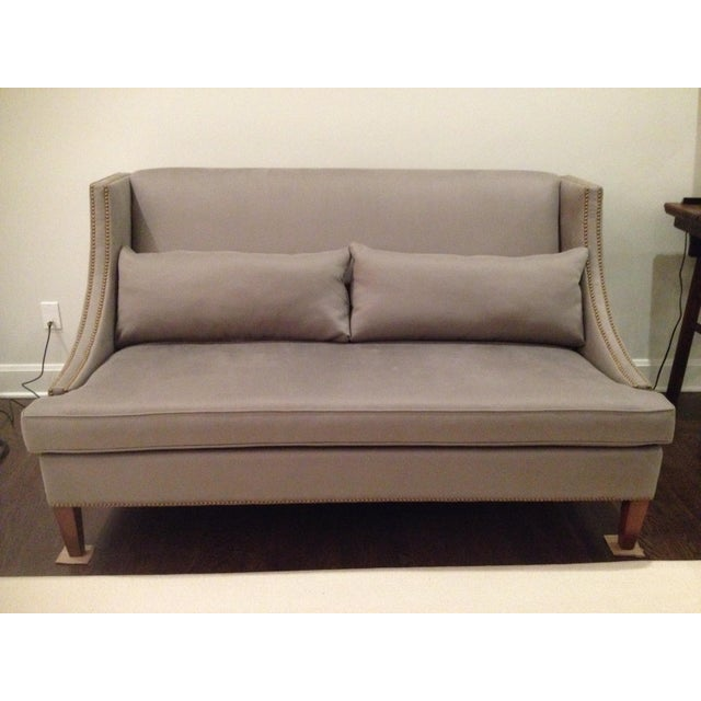 Transitional gray settee sofa with nailhead trim chairish for Gray sectional sofa with nailhead trim