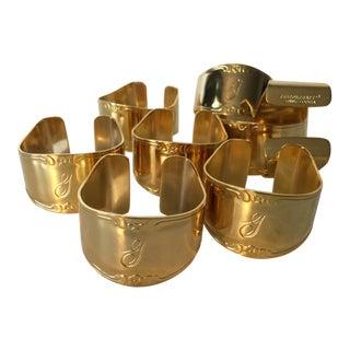 Vintage Gold Stainless Steel Monogram Napkin Rings - Set of 8