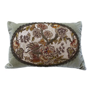 Sage Green Silk Velvet Pillow W/ Floral Embroidery