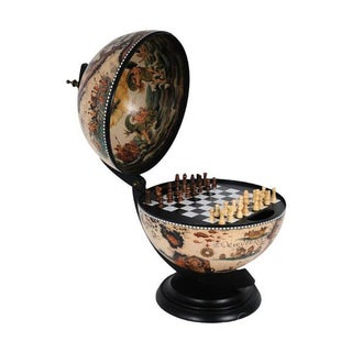 Globe Chessboard Holder & Chess Set