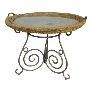 Wicker Basket & Glass Top Dining Table