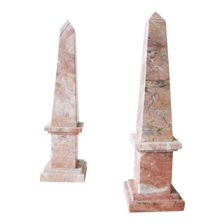 Pink Marble Obelisks - a Pair
