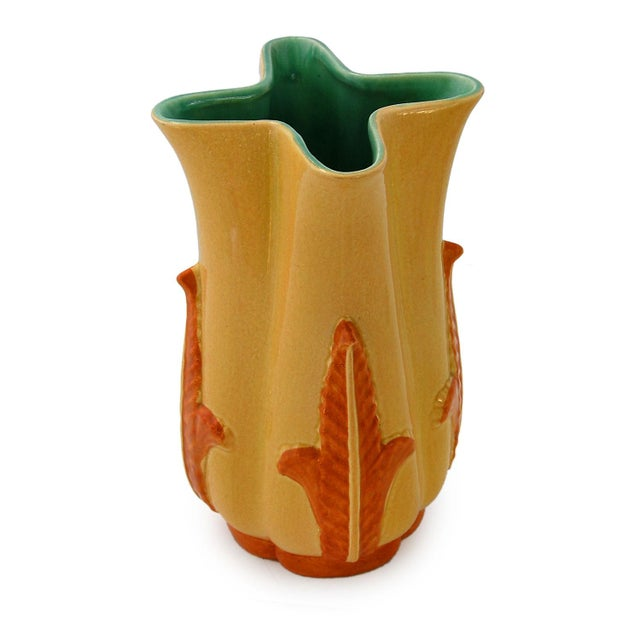 Image of 1940's Redwing Pottery Four Cornered Vase