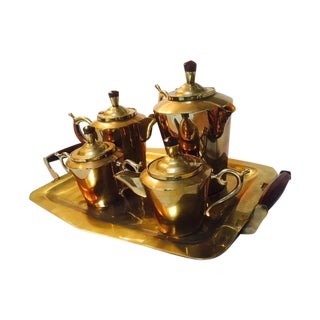 Hand-Carved Teak & Brass Tea or Coffee Set