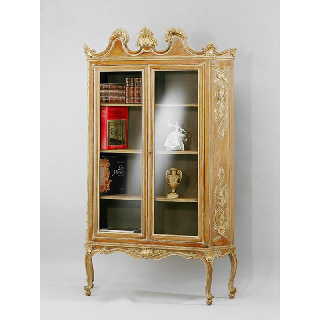Image of French Hand Carved Wood Bookcase