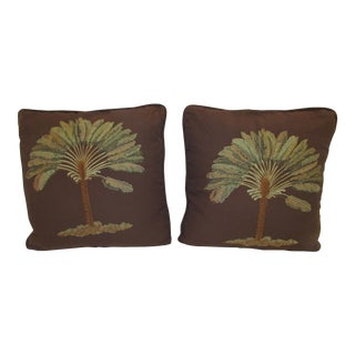 Embroidered Palm Tree Pillows - A Pair