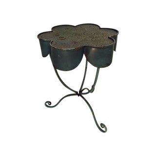 Vintage Aged Teal Flower Steel & Tin Side Table
