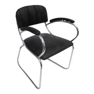 Art Deco 1930's Chrome Black Arm Chair