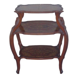 French Inlaid Marquetry Three Tier Tag-Ere / Table