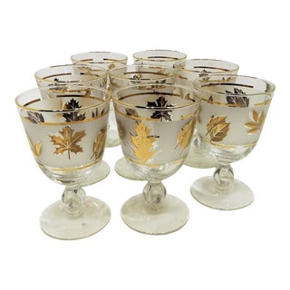 Libby Golden Foliage Frosted Glass Goblets- Set of 8