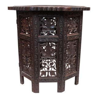 Vintage Hand-Carved Indian Tabouret