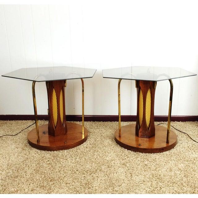 Led Coffee Table Set: Mid-Century Wood & Glass Coffee & Lighted Side Table