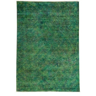 Vibrance, Hand Knotted Modern Kelly Green Wool Area Rug - 6' X 8' 10""