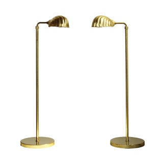 Chapman Lighting Adjustable Brass Reading Lamps, pair