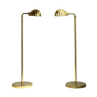 Chapman Lighting Adjustable Brass Reading Lamps, pair