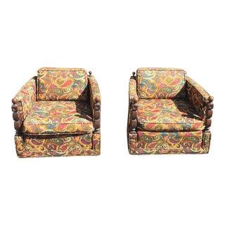 Vintage Kroehler Swivel Paisley Club Chairs - Pair