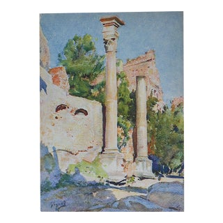 Vintage Lithograph, The Forum in Rome