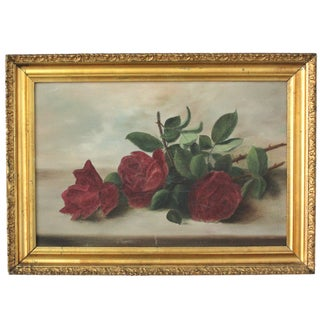 Mid-Century Framed Roses Oil Painting