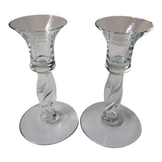 Orrefors Glass Candlestick Holders - APair