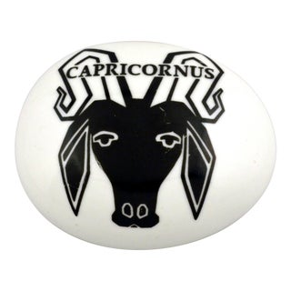 Vintage Piero Fornasetti Porcelain Capricorn Zodiac Paperweight