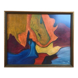 1963 Polinski Mid-Century Abstract Oil Painting