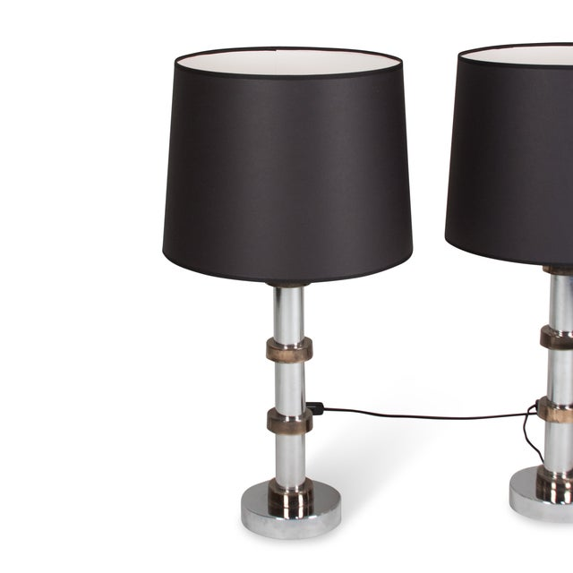 Vintage 1960s Faux Bamboo Chrome Lamps - A Pair - Image 5 of 8