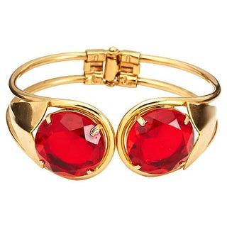Ruby Rhinestone Clamper Bracelet