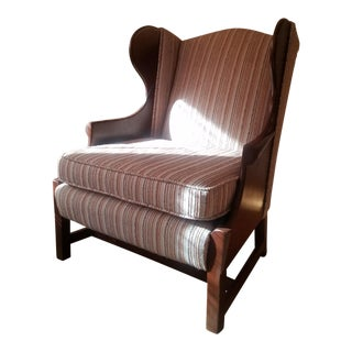 Vintage Striped Wingback Chair