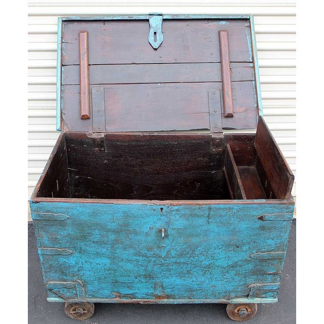 Vintage Teal Wheeled Wood Chest - Image 5 of 5