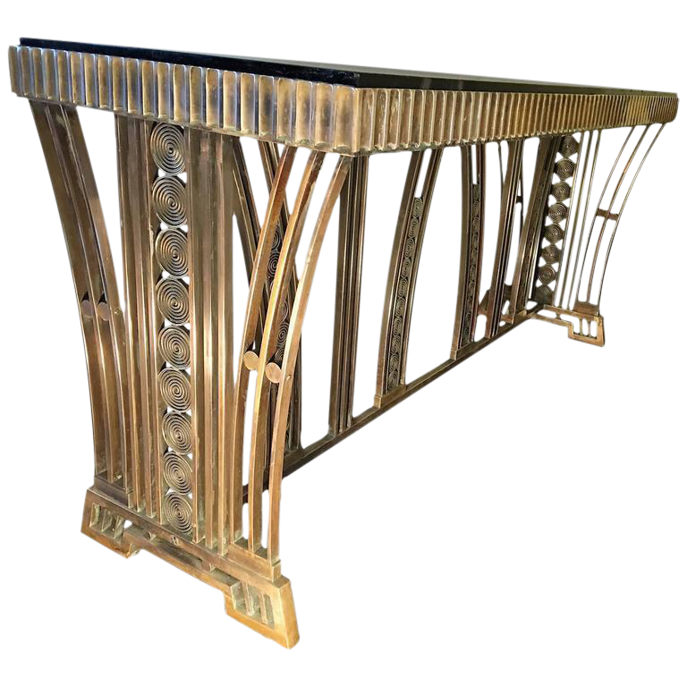 Spectacular Art Deco Modernist Bronze Console Table Designed By Edgar  Brandt   Image 1 Of 10