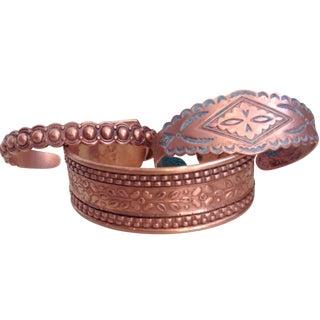 Vintage Copper Cuffs - Set Of 3