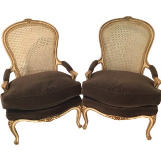 Vintage French Bergere Chairs - A Pair