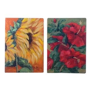 Original Acrylic Floral Paintings - A Pair