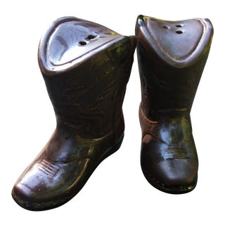 Cowboy Boot Ceramic Salt & Pepper Shakers - A Pair