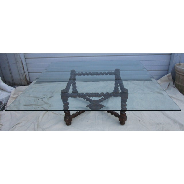 Image of Large Beveled Glass and Wood Base Coffee Table