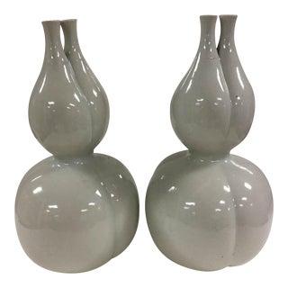 Off-Black Glazed Gourd Vases - A Pair