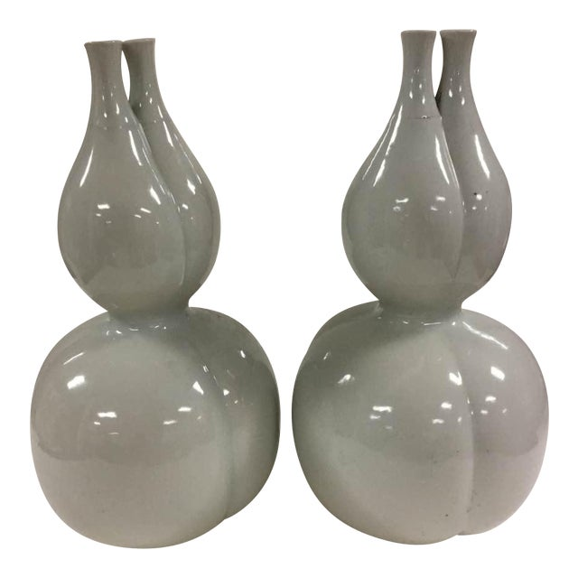 Off White Glazed Gourd Vases - a Pair - Image 1 of 6