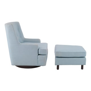 Edward Wormley for Dunbar Swivel Lounge Chair & Ottoman