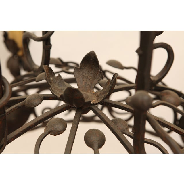 1940's Wrought Iron Chandelier - Image 6 of 8