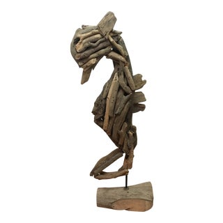 Driftwood Seahorse Sculpture on Stand
