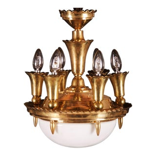Art Deco Brass Chandelier, 1920s