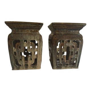 Vintage Chinese Garden Stools - Pair