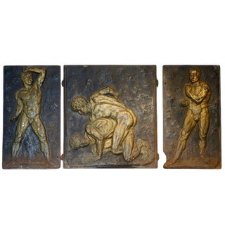 Set of Three Gilt Cast Iron Strong Men Fireplace Backs