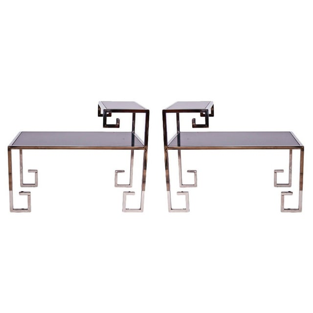 Image of Greek Key Side Tables - A Pair